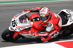 Matteo Baiocco Ducati 1098R Barni Racing Team. Matteo Baiocco - Ducati 1098R - Barni Racing Team 2011 Imola SBK superbike championship Royalty Free Stock Photo