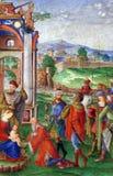 Matteo da Milano: miniaturas del breviario de Alfonso I d Este: Adoración de unos de los reyes magos Fotos de archivo libres de regalías