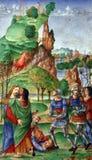 Matteo da Milano: miniature dal breviario di Alfonso I d Este: Bacio di Giuda fotografia stock