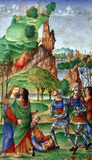 Matteo da Milano: miniaturen van breviary van Alfonso I D Este: Judaskus stock fotografie