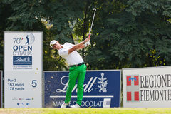 Matteo Manassero (ITA) hits his tee shoot on 5th hole. Royalty Free Stock Photos