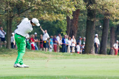 Matteo Manassero (ITA) plays a shoot on 4th hole. Royalty Free Stock Image