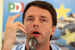 Matteo Renzi. Mayor of Florence photographed in Livorno to the party of the Democratic Party Royalty Free Stock Photo