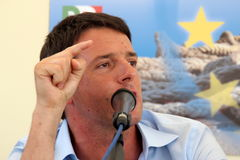 Matteo Renzi. Mayor of Florence photographed in Livorno to the party of the Democratic Party Royalty Free Stock Image