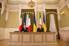 Matteo Renzi i Petro Poroshenko Zdjęcie Stock