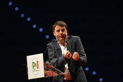 Matteo Renzi leader of Italian Democratic Party during electoral rally for the upcoming political elections stock photos