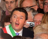 Matteo Renzi national premier, last day as Florence. Matteo Renzi national premier pd last day as mayor of Florence Stock Photography