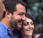 Matteo Salvini, der Sekretär der Ligapartei während des Wahlkampfs für den Bürgermeister von Genua, Italien lizenzfreie stockbilder