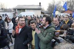 Matteo Salvini-F?hrer italienischer Lega-Partei und heutzutage Minister von inneren Angelegenheiten treffen Anh?nger w?hrend der  stockfoto