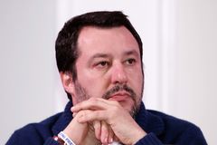 Matteo Salvini. He is an Italian politician. Member of Parliament and MEP, since December 2013 he is Federal Secretary of the Northern League Stock Photos