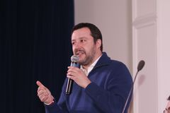 Matteo Salvini. He is an Italian politician. Member of Parliament and MEP, since December 2013 he is Federal Secretary of the Northern League Royalty Free Stock Photo