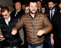 Matteo Salvini. He is an Italian politician. Member of Parliament and MEP, since December 2013 he is Federal Secretary of the Northern League Stock Photo