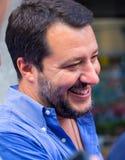 Matteo Salvini, la secretaria del partido de la liga durante la campaña electoral de para el alcalde de Génova, Italia foto de archivo libre de regalías