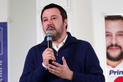 Matteo Salvini. He is an Italian politician. Member of Parliament and MEP, since December 2013 he is Federal Secretary of the Northern League Stock Images