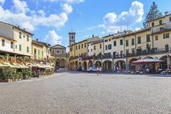 Matteotti Square in Greve in Chianti, Tuscany, Italy. GREVE IN CHIANTI, ITALY - SEPTEMBER 15, 2018: This is the main Matteotti Square in the central city of the royalty free stock image