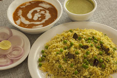 Matter pulao with Dal makhni Stock Images