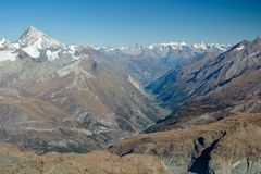 Matter valley in Switzerland. Valley where the Zermatt village is located Stock Photography