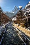 MAtter Vispa and Matterhorn in the background Stock Photography