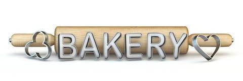 Matterello, testo del FORNO e taglierina di legno 3D del biscotto royalty illustrazione gratis