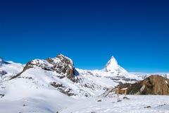 Matterhorn, το διασημότερο βουνό σε Zermatt, Ελβετία Στοκ εικόνες με δικαίωμα ελεύθερης χρήσης