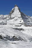 The Matterhorn. And ski slopes of Zermatt in southern switzerland Stock Photography
