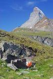 Matterhorn. An orienteering control point in front of the Matterhorn. Photo taken during the Swiss Orienteering Week in Zermatt Stock Photo