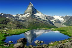Matterhorn. The Matterhorn behind a beautiful lake Stock Image