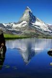 Matterhorn. The Matterhorn behind a beautiful lake Stock Photo