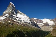 Matterhorn. Mount Matterhorn towering over Zermatt-Swiss Royalty Free Stock Image