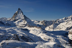 Matterhorn. Mountain in the Pennine Alps on the border between Switzerland and Italy, one of the highest peaks in the Alps. Viewed form Gornergrat Stock Images