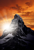 Matterhorn. Sunrise on the beautiful Matterhorn Royalty Free Stock Photography
