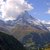 Matterhorn. View at Mount Cervin, Matterhorn, partially hidden  in the clouds, Zermatt, Valais, Switzerland Stock Image
