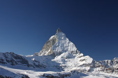 Matterhorn. View on Matterhorn mountain in winter from the side royalty free stock images