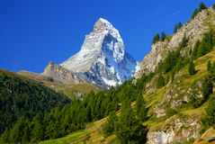Matterhorn (4478m) in the Pennine Alps from Zermatt, Switzerland Stock Image