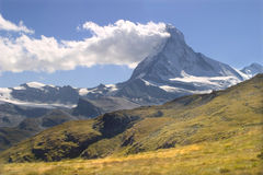 Matterhorn. And the meadow - switzerland Royalty Free Stock Photography