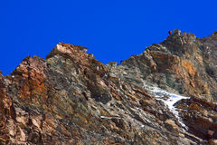 Matterhorn. Alpinists climbing the Leone Ridge, Matterhorn Royalty Free Stock Photography