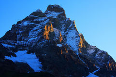 Matterhorn. (4478m) seen from Cervinia, Italy Royalty Free Stock Photos