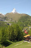Matterhorn above cafe near Zermatt Stock Photos