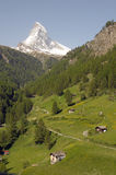 Matterhorn above fields near Zermatt Royalty Free Stock Photos
