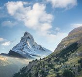 Matterhorn against sunset in Swiss Alps, Zermatt area, Switzerland. Famous Matterhorn against sunset in Swiss Alps, Zermatt area, Switzerland royalty free stock photography