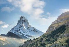 Matterhorn against sunset in Swiss Alps, Zermatt area, Switzerland. Famous Matterhorn against sunset in Swiss Alps, Zermatt area, Switzerland royalty free stock photo