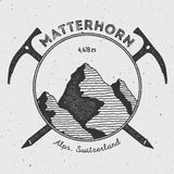 Matterhorn in Alps, Italy outdoor adventure logo. Climbing mountain vector insignia. Climbing, trekking, hiking, mountaineering and other extreme activities Stock Image