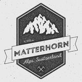 Matterhorn in Alps, Italy outdoor adventure logo. Pennant expedition vector insignia. Climbing, trekking, hiking, mountaineering and other extreme activities Royalty Free Stock Photo