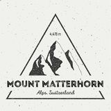 Matterhorn in Alps, Italy outdoor adventure logo. Triangular mountain vector insignia. Climbing, trekking, hiking, mountaineering and other extreme activities Royalty Free Stock Image