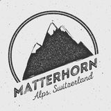 Matterhorn in Alps, Italy outdoor adventure logo. Round mountain vector insignia. Climbing, trekking, hiking, mountaineering and other extreme activities logo Stock Photos