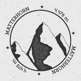 Matterhorn in Alps, Italy outdoor adventure logo. Round stamp vector insignia. Climbing, trekking, hiking, mountaineering and other extreme activities logo Stock Photography