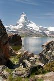Matterhorn in Alps, Switzerland. Matterhorn mountain reflecting in Stellisee, Alps, Switzerland Royalty Free Stock Photos