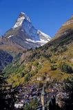 Matterhorn. In the Alps, viewed with the Swiss village of Zermatt in the foreground Stock Photography