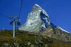 Matterhorn as seen from Zermatt at sunset, Switzerland Royalty Free Stock Image