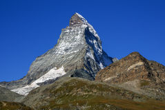 Matterhorn as seen from Zermatt at sunset, Switzerland Stock Image